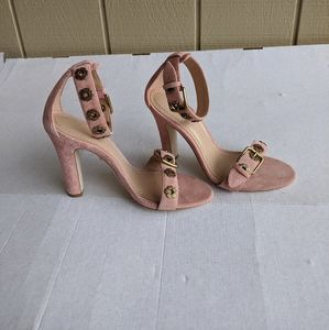 Coach Elizabeth pink Suede Block Heel Sandal